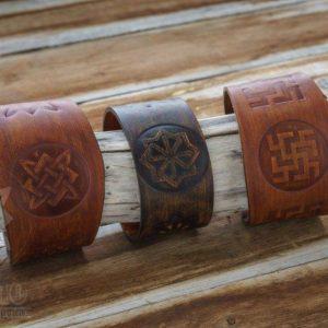 Кожаные браслеты Обереги Звезда Руси, Коловрат, Молвинец Перунов цвет. Купить