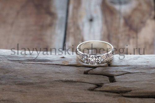 Кольцо с оберегом свадебник камень фианит. Мастерская Ярило