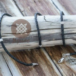 Гайтан Кожаный шнур с бусинами