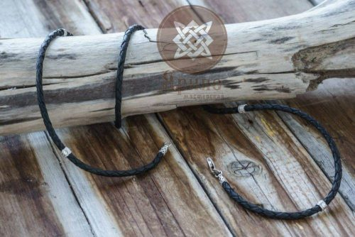 Славянский обереги. Мастерская Ярило. Кожаный шнур серебряные вставки.