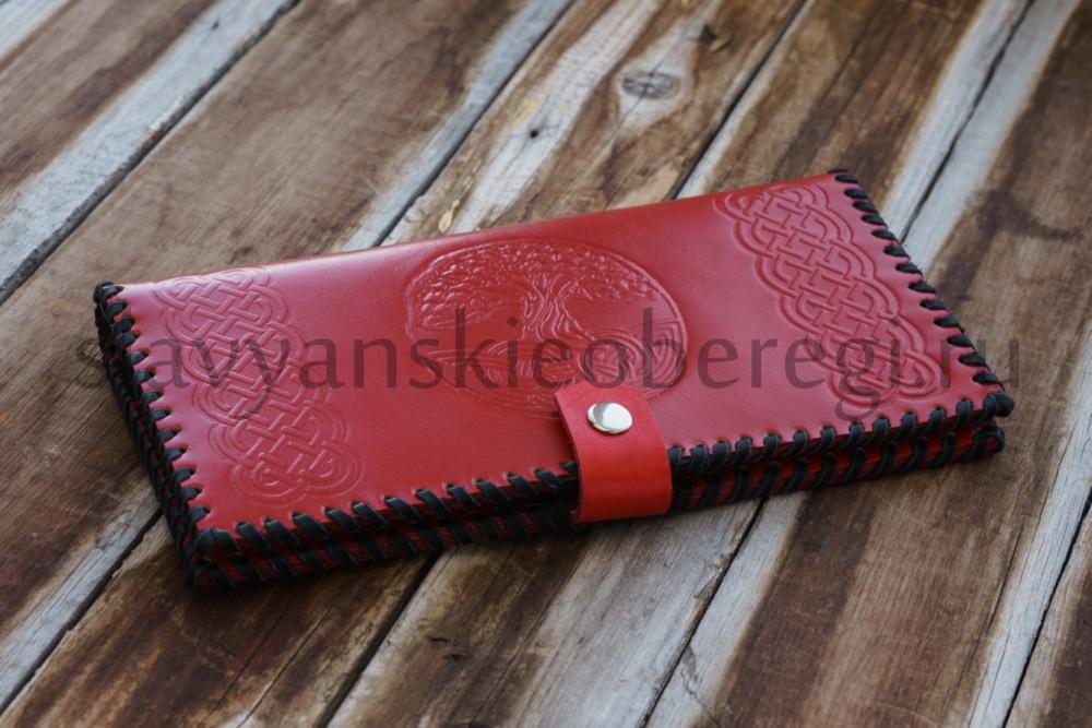 Славянские обереги Древо жизни кожаный кошелек натуральная купить