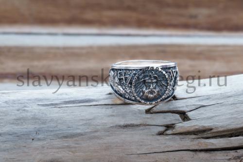 кольцо велеса с исмволоми руна одал символ велеса и печать волка печать медведя из серебра