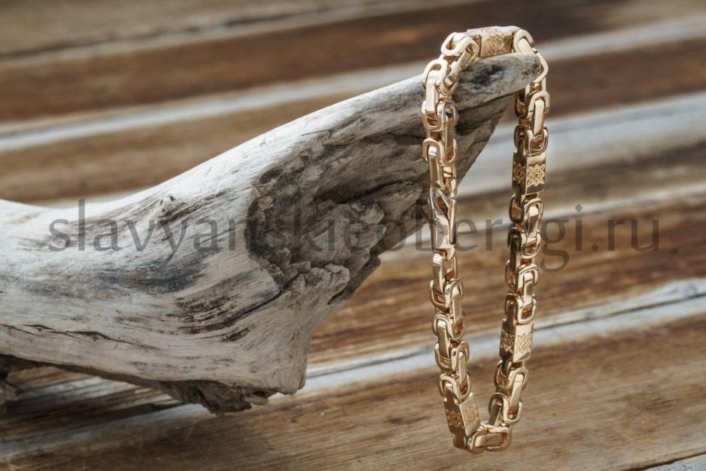 Браслет оберегжный Звезда руси из золота 585 пробы мастерская ярило (2)