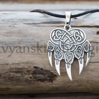 Славянский оберег Печать Велеса медвежья лапа кулон из серебра