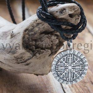 Кулон Шлем Ужаса в Руническом круге. Серебро 925 пробы. Вес ≈ 15 гр. 34 мм. 2500р (1)