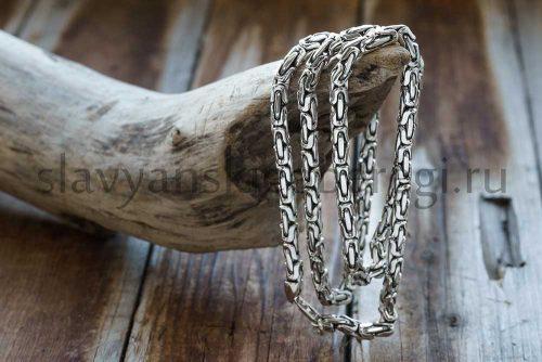 "Цепочка ""Византийское плетение"". С чернением. Серебро 925, 5 мм ширина. Вес 50-60 гр. Длина 55-60-65 см. Цена 8000р"