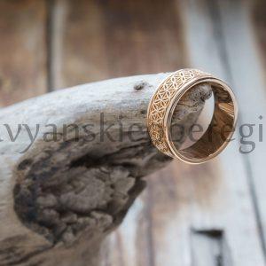 Кольцо Цветок Жизни. Золото 585 пробы. Вес 6-7 гр. Зависит от размера. Ширина 7 мм. Размеры 16, 17, 18, 19. Цена: 19000.