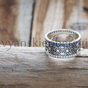 """Кольцо """"Алатырь"""" с камнями. Фианит белый и синий. Серебро 925 пробы. Средний вес 6-8 гр, зависит от размера. Размер 16, 17, 18, 19. Высота 9 мм. Цена 2500р"""