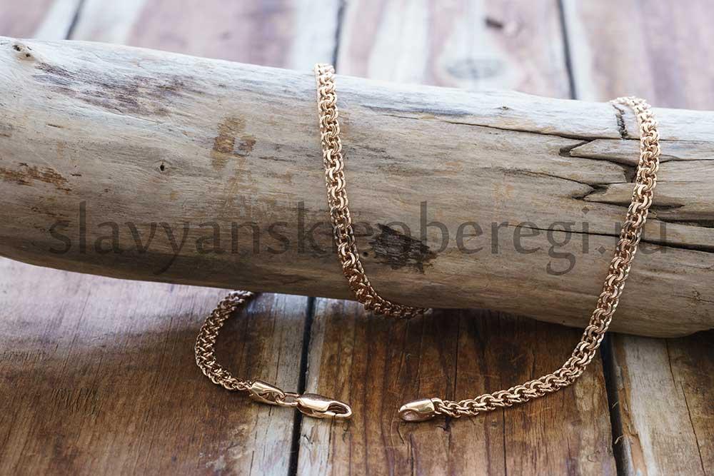 Цепочка Бисмарк. Золото 585 пробы. Ширина 4 мм, вес около 13-17 гр, зависит от длины. Длина 40-55-60-65 см. Возможна любая под заказ. Цена ≈ 60000 руб.