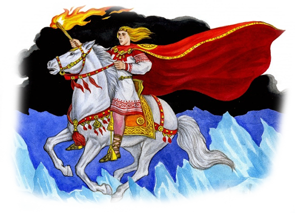 У бога Крышеня был скакун белоснежный, что по облакам, что по полю скакал, поэтому это задание показалось светлому богу очень простым