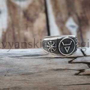славянские обереги символ велеса перстень из серебра 925