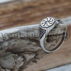 Славянский оберег коловрат кольцо перстень из серебра.