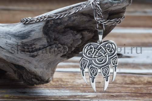 Славянские обереги из серебра. Печать велеса волчья лапа. (1)