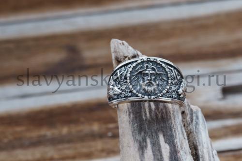 кольцо велеса с исмволоми руна одал символ велеса и печать волка печать медведя из серебра купить