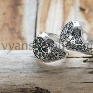 Перстень Шлем Ужаса. Цена 2800р. Серебро 925 пробы. Камни - Фианит, Агат. (2)